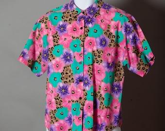 Vintage 80s Floral Pattern Top - CASEY & MAX - floral leopard print