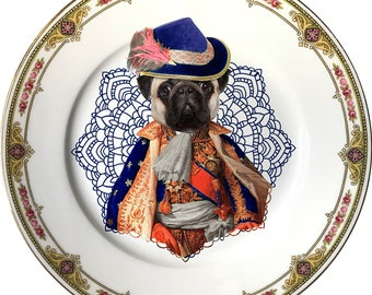 Lord Pug - Carlino - Vintage Porcelain Plate - #0564