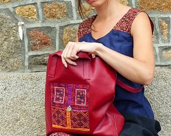 Sac en cuir véritable avec application de textile vintage indien brodé main, 5 coloris disponibles