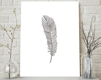 Feather Sketch, Feather Drawing, Sketches, Feather Print, Feather, Illustrations, Black And White, Feather Wall Art, Bohemian Art, Nursery