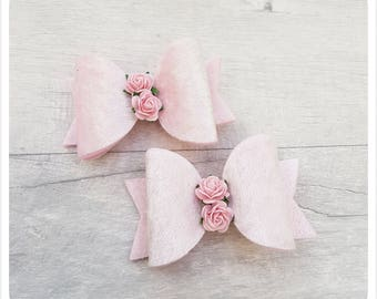 Crushed velvet rose bow, girls bow, hair clip, pink bow