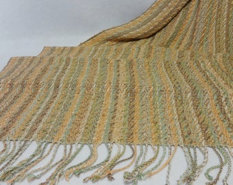 Handwoven Shawl, Summer Shawl, Beach Shawl, Wedding Shawl, Wedding Stole, Summer Stole, Handwoven Rayon Shawl, Peach Shawl  #17-06B