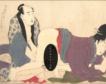 Japanese Woodblock Art Reproduction. Japanese Shunga Erotic Art Print Reproduction No. 1, c. 1790s. by Utamaro. Fine Art Print