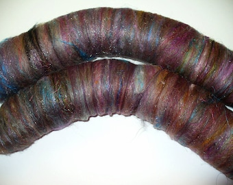 Wool Mix Rolags for Hand Spinning or Felting