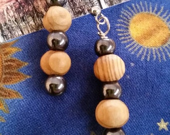 Hematite and Olive Wood Beaded Dangle Earrings