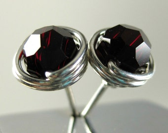 Garnet Birthstone Stud Earrings 6mm Faceted Swarovski Crystal Personalized Wire Wrapped Sterling Silver -- All Birth Months Available