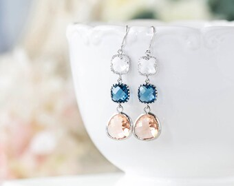Sapphire Blue Peach Champagne Clear Crystal Silver Earrings Navy Peach Wedding Jewelry Bridesmaid Long Dangle Glass Earrings Gift for Her