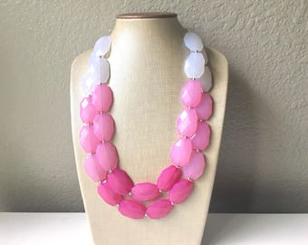 Plus Size Pink Ombre Necklace, Extra Long necklace, blush pink necklace, pink and white necklace, pink jewelry, beaded pink necklace magenta