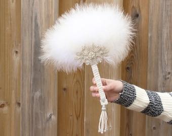 1920s GATSBY Marabou Feather Fan Wedding brooch Bouquet Bridal Feather Bouquet White Gatsby Bouquet art deco wedding Roaring 20s Bouquet