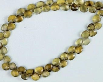 6 inch long strand faceted heart beer quartz briolette beads 2 x 4.5 x 4.5 mm approx