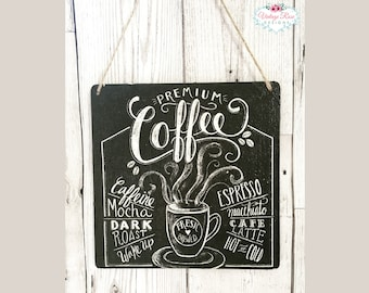 Coffee Wall Hanging Sign Plaque, Chalkboard Style Wooden Art, Kitchen  Decoration, Home Decor