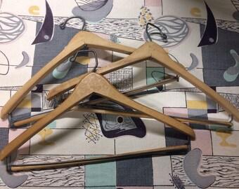 Lot of 3 Vintage Wooden Suit Hangers