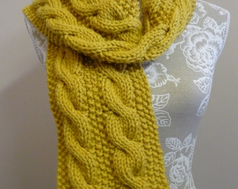 Chunky Pure Wool Cable Scarf  -  1367