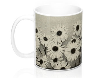 Black And White Daisies Coffee Mug 11Oz