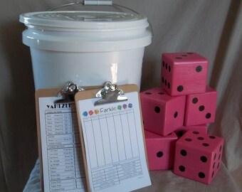 Farkle Yardzee Dice Set 5 gallon bucket many colors to choose from Yard Dice Yahtzee
