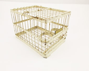 A Vintage 'Hendryx' Bird Cage - Cream-painted Cage - Brass Nameplate  - Small Birdcage - Pigeon Carrier - Dove Carrier