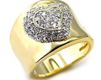 Ring - ref7x222-gold plated - set with cz - heart motif