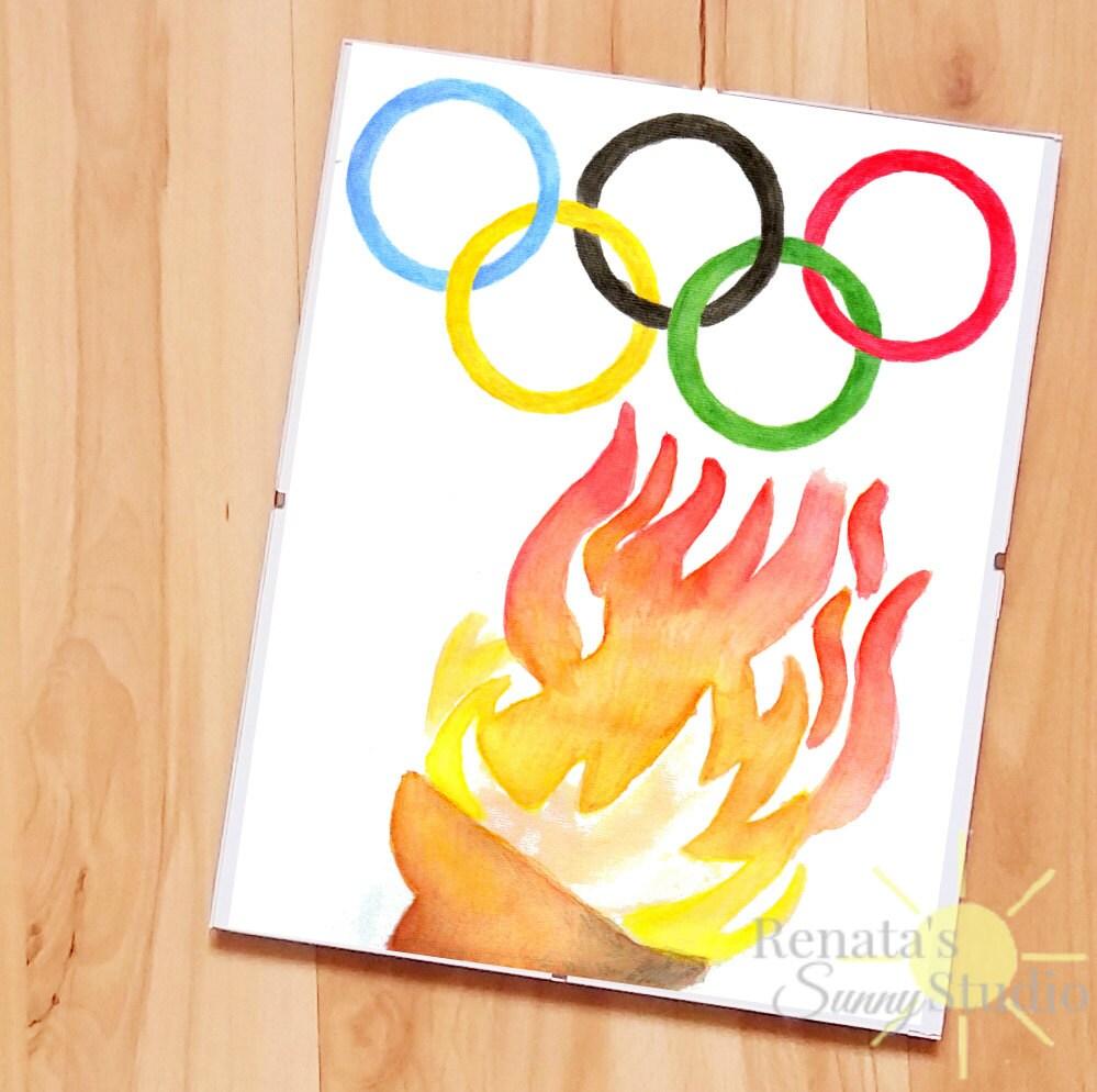 Olympic games Olympics logo Wall art olympic torch olympics