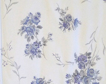 """1/2 YARD, CREPE PRINT, Pale Blue Roses on Lavender, 57"""" Wide Floral Fashion or Home Decor Fabric, Lightweight Fine Cotton Acrylic, B27"""