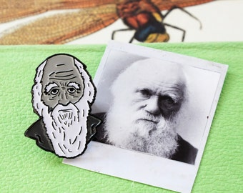 CHARLES DARWIN Enamel Pin Monochrome Scientist Black White Science Evolution Naturalist Stocking Filler Graduation Exams Teacher Gift Soft