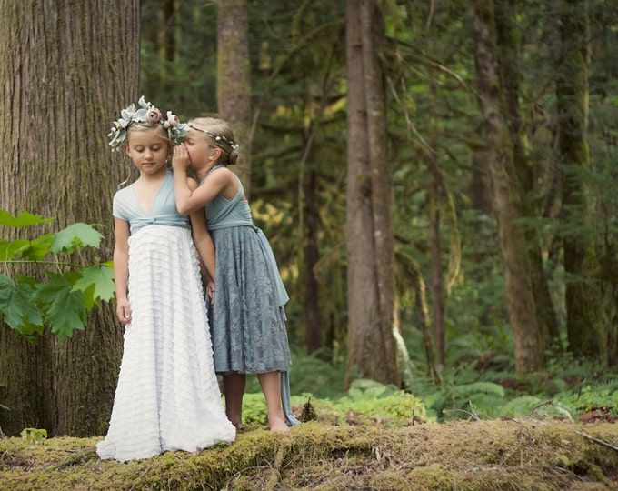 Girls Ruffle Convertible Wrap Dress-Long Infinity Twirl Dress-Aline Maxi- Choose any fabrics- Flower girl, Party Dress