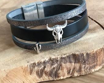 Buffalo head leather Cuff Bracelet