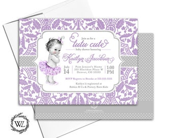tutu cute baby shower invitation purple and silver, tutu baby shower invite girls, lace polka dots, vintage, printable or printed - WLP00794