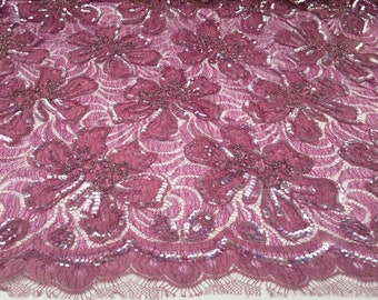3 yard cut of dusty rose Pink Chantilly lace, sequined in dusty rose pink and beads eyelash lace fabric, lace fabric, fabric by