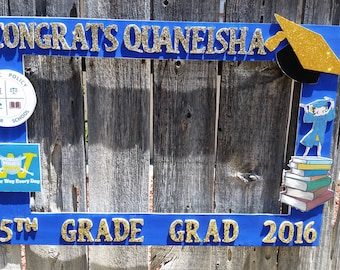 Birthday, Baby Shower, Wedding,Blue and Gold Themed  Graduation or Birthday  Party Photo Prop Frame