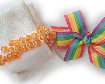 Kathy's Beaded Socks - Rainbow Stripe Socks with Hairbow, school socks, clear pony beads, orange glitter pony beads, red socks, blue socks