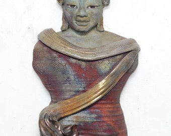 Figurative Sculpture Handmade Ceramic Raku Buddha Wall Hanging Kannon Figurative Sculpture in Raku Ceramics With Gold Hair and Golden Clouds