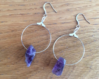Raw Amethyst Earrings, Amethyst Earrings, Raw Crystal Earrings