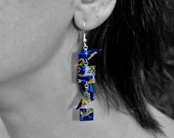 Bohemian earrings inspiration Arabic calligraphy silver and resin