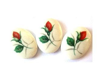 6 Vintage cabochon ceramic  porcelain glass oval  red rose flowers 18mmx13mm, japanese