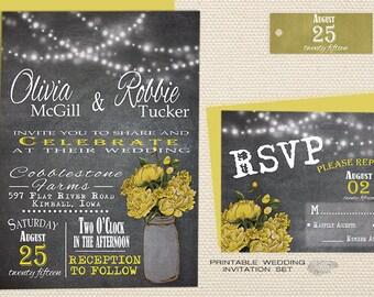 Printable Rustic Chalkboard Wedding Invitation Suite | Yellow Peonies - Country Mason Jar String Lights Wedding Invitation | DIY or Printed
