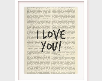 I love You Printable Poster, I love you card, Valentine's Day Card, Wall Decor Print, Love Typographic Print Valentine Gift Digital Download