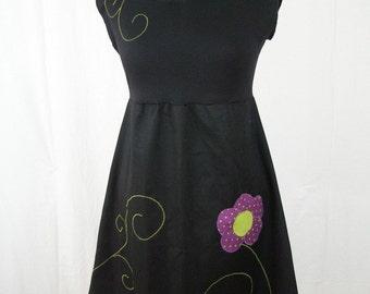 Kyriu purple flower dress with polka dots