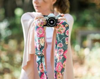 Gift for Photographer- Scarf Camera Strap- Camera Strap- Photographer Gift- Floral Camera Strap- Nikon Camera Strap- Cross body