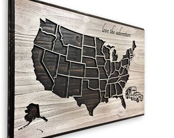 RV Road Trip Map, Camper, Pickup Truck and Camper, Anniversary Gift, Push Pin map, Map to mark travels, US Map Art, United States of America