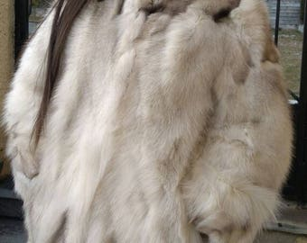 New,Natural Real Half Full skin Blue FOX Fur Hooded Coat!