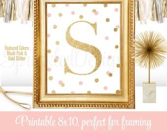 Printable Baby Girl Nursery Decor Wall Art - Letter S - Name Initial Monogram Art Print Sign, Blush Pink Gold Glitter 8x10 JPG