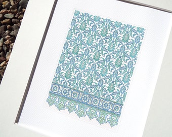 Moorish Tile Pattern 4 in Soft Blue Chambray, Pale Green & Cream Archival Quality Print