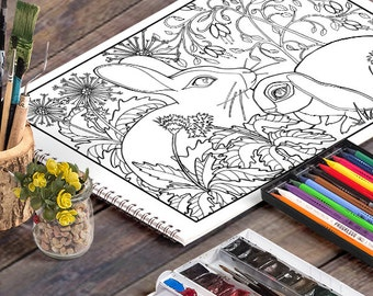 Rabbits: A Printable Adult Coloring Page