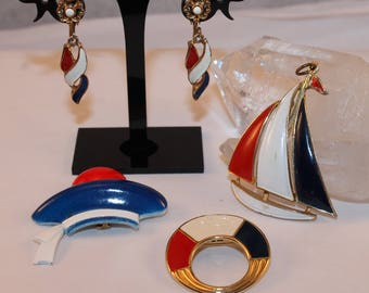 Vintage 4 Piece Red White & Blue Nautical Patriotic Jewelry Lot Some SIGNED