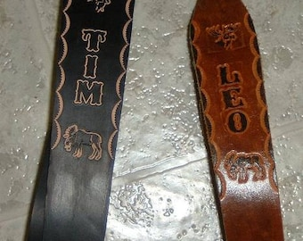 GUN SLINGS  genuine leather. handmade with first name, guitar & black or brown.  to order call 17098852004 or 2010