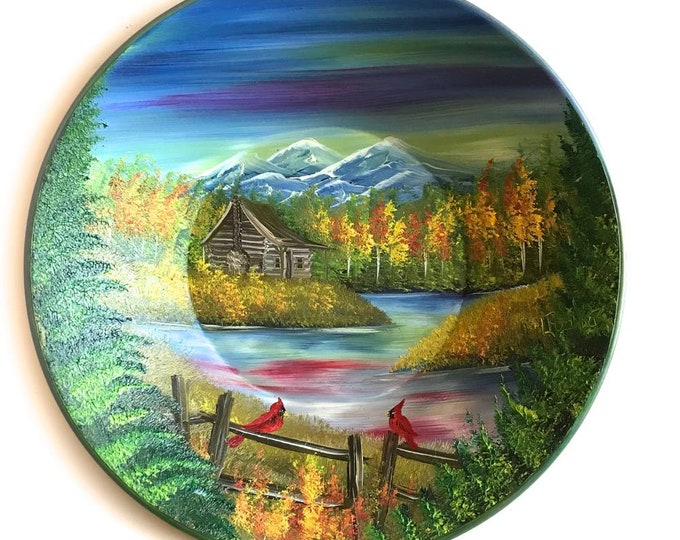 Hand Painted 10 Inch Gold Pans Mountain Fall Cabin and Cardinals On Sale!!