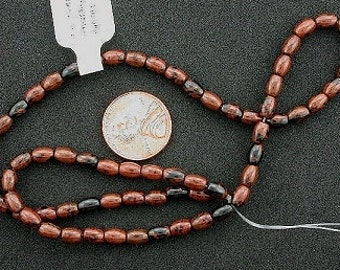 6x4 gemstone mahogany rice obsidian beads