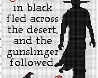 The Man in Black and the Gunslinger - Stephen King the Dark Tower  Cross Stitch Pattern - Instant Download