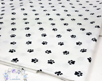 Dog Paw Fabric, Paw Print Fabric, Dog Fabric, Animal Paw Quilt Fabric, Cotton Pawprint Fabric black and white