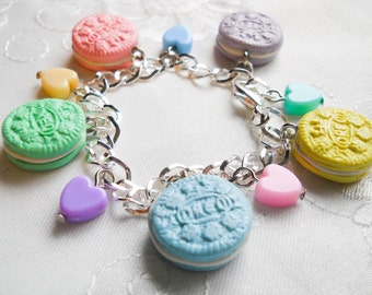 Pastel Cookie Bracelet, Charm Bracelet, Cookie, Charm, Cute Bracelet, Sweet Lolita, Kawaii Bracelet, Food Bracelet, Oreo, Bracelet